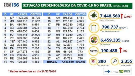 Situação epidemiológica da covid 19 no Brasil/25.12.2020