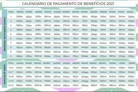 Calendário de pagamento de benefícios de 2021 - Instituto Nacional do Seguro Social - INSSCalendário de pagamento de benefícios de 2021 - Instituto Nacional do Seguro Social - INSS