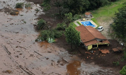 A house is seen in a area next to a dam owned by Brazilian miner Vale SA that burst, in Brumadinho, Brazil January 25, 2019. REUTERS/Washington Alves