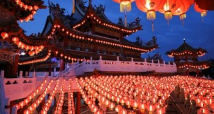 Lanterns are lit up at Thean Hou Temple, during Chinese Lunar New Year celebrations, amid the coronavirus disease (COVID-19) outbreak in Kuala Lumpur, Malaysia February 12, 2021. REUTERS/Lim Huey Teng