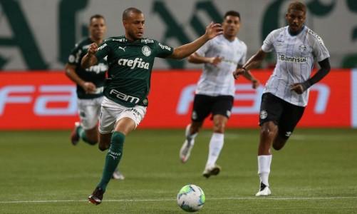 O jogador Mayke, da SE Palmeiras, em jogo contra a equipe do Grêmio FBPA, durante partida válida pela vigésima nona rodada, do Campeonato Brasileiro, Série A, na arena Allianz Parque. (Foto: Cesar Greco)