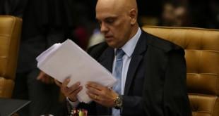O ministro Alexandre de Moraes, durante sessão de julgamento sobre limite para compartilhamento de dados fiscais