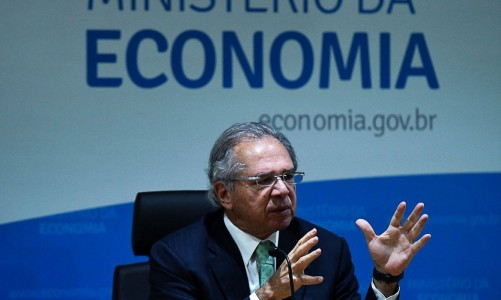 Ministro da Economia, Paulo Guedes, durante coletiva remota sobre o balanço das medidas e ações do ME em 2020