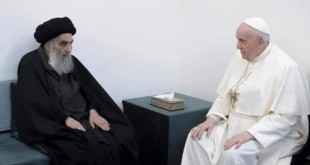 Pope Francis meets with Iraq's top Shi'ite cleric, Grand Ayatollah Ali al-Sistani, in Najaf, Iraq March 6, 2021. Grand Ayatollah Ali al-Sistani office/Handout via REUTERS THIS IMAGE HAS BEEN SUPPLIED BY A THIRD PARTY.NO RESALES. NO ARCHIVES TPX IMAGES OF THE DAY