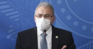 O ministro da Saúde, Marcelo Queiroga, durante coletiva no Palácio do Planalto