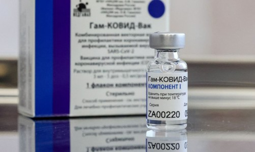MOSCOW, RUSSIA - DECEMBER 28, 2020: A dose of the Gam-COVID-Vak (Sputnik V) vaccine is on display during vaccination against COVID-19 at Branch No 8 of Moscow's outpatient clinic No 121. Vladimir Gerdo/TASS.No use Russia.
