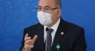 O presidente do Senado, Rodrigo Pacheco, e o ministro da Saúde, Marcelo Queiroga, durante coletiva, após reunião do Comitê de Coordenação Nacional de Enfrentamento da Pandemia de Covid-19