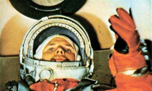 Yuri Gagarin in the Vostok 1