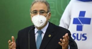 O ministro da Saúde, Marcelo Queiroga, durante o lançamento da Campanha Nacional de Vacinação contra a gripe.