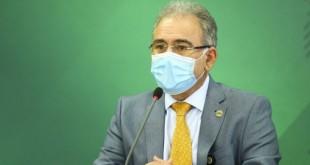 O ministro da Saúde, Marcelo Queiroga, durante declaração após reunião do Comitê de Coordenação Nacional para Enfrentamento da Pandemia da Covid-19, no Palácio do Planalto.