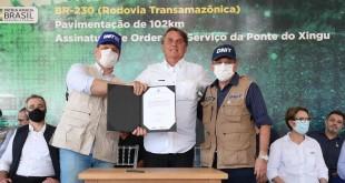 (Novo Repartimento -  PA, 18/06/2021) Presidente da República Jair Bolsonaro, durante assinatura da ordem de serviço para o início das obras da ponte sobre o Rio Xingu. Foto: Isac Nóbrega/PR