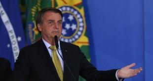 Presidente Jair Bolsonaro, discursa  durante lançamento do novo sistema nacional de recadastramento de pescadores profissionais.