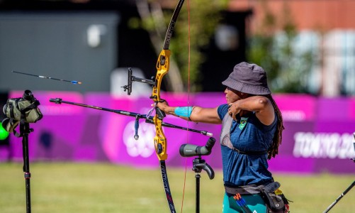 18.07.2021 - Jogos Olímpicos Tóquio 2020 - Treino da equipe de tiro com arco em Yumenoshima Archery Field. Na foto, destaque para a atleta Ane Marcelle. Foto: Miriam Jeske/COB